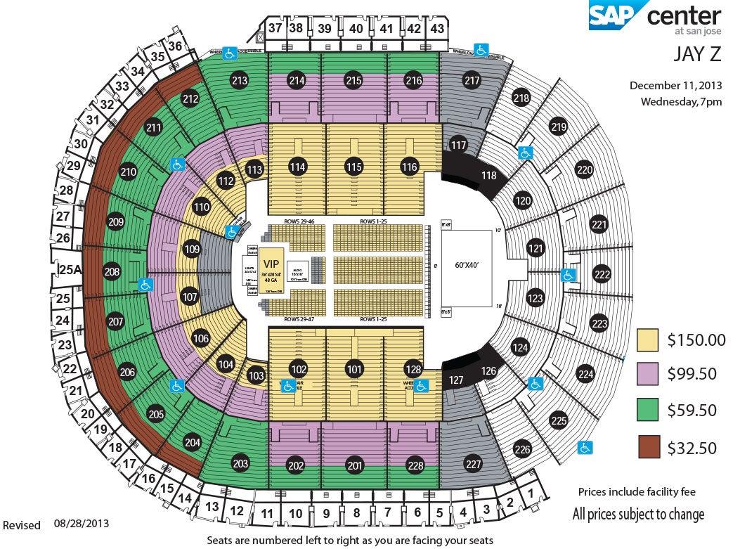 sap center san jose seating chart