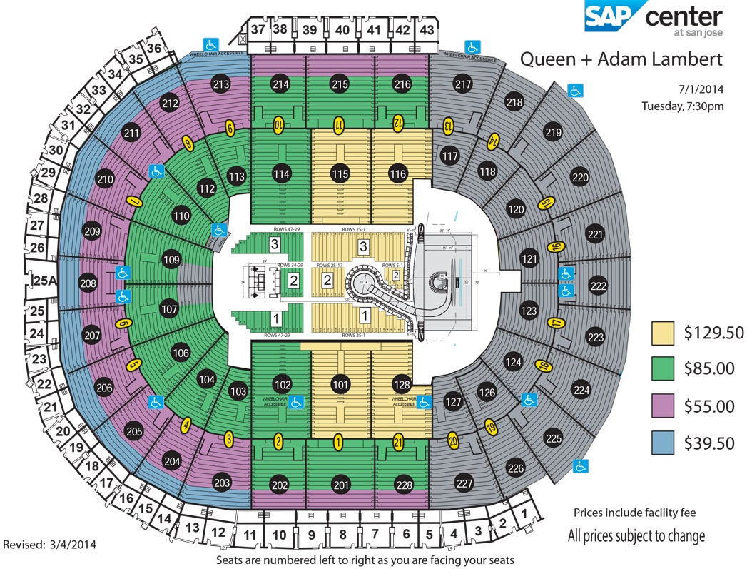 Queen + Adam Lambert | SAP Center on elvis presley map, austin mahone map, ronald reagan map, michael jackson map,