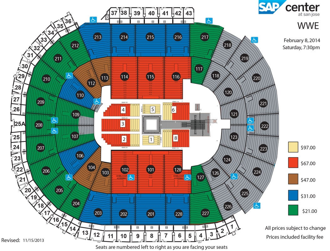 WWE Live | SAP Center Sap Center Seating Map on sap center tickets, sap center san jose, sap center twitter, sap center santa clara, sap concert seating, sap center suites, sap center hotels, sap seating-chart hockey, sap theater seating, sap center events, sap center parking, sap center sharks seating-chart, sap center schedule,