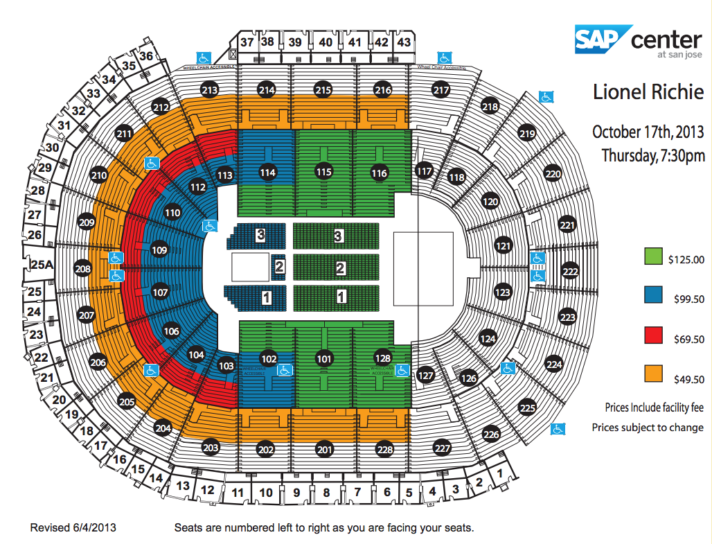 Sap Center Map Lionel Richie | SAP Center