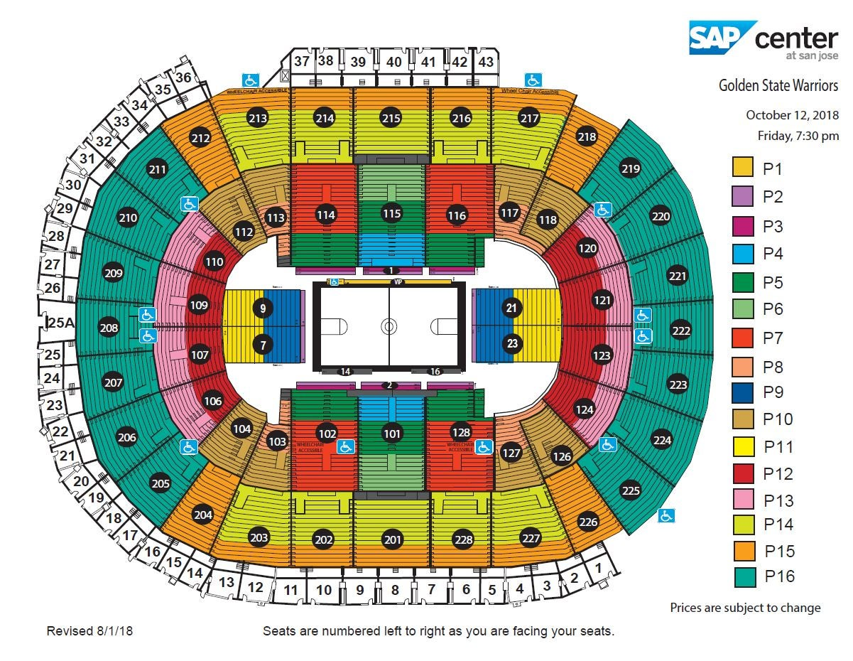Sap Center Map Golden State Warriors vs. Los Angeles Lakers | SAP Center